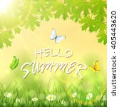 inscription hello summer on... | Shutterstock . vector #405443620