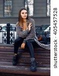 beautiful girl with long hair... | Shutterstock . vector #405457528