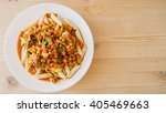 top view of homemade pasta with ... | Shutterstock . vector #405469663