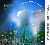 smart city concept on blurred... | Shutterstock .eps vector #405474238