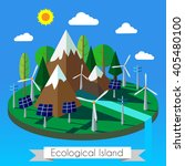 ecology concept with island ... | Shutterstock .eps vector #405480100