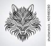 patterned head of the wolf on... | Shutterstock .eps vector #405480280