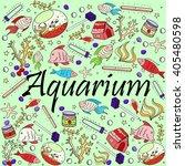aquarium line art design vector ... | Shutterstock .eps vector #405480598