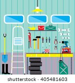 working place with tools in... | Shutterstock .eps vector #405481603