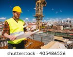 construction worker checking... | Shutterstock . vector #405486526