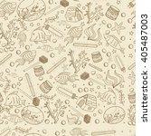 aquarium seamless retro line... | Shutterstock . vector #405487003