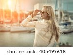 woman portrait on the yacht... | Shutterstock . vector #405499618
