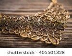 metal feminine necklace on... | Shutterstock . vector #405501328
