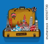 travel bag of special places... | Shutterstock .eps vector #405507730