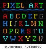 pixel art color font. vector... | Shutterstock .eps vector #405508930