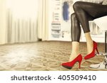lady in room and slim legs and... | Shutterstock . vector #405509410