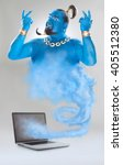 Small photo of genie of the lamp with smoke from laptop isolated on grey