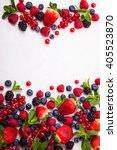 various fresh summer berries.... | Shutterstock . vector #405523870