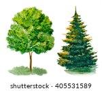 set of watercolor trees... | Shutterstock . vector #405531589