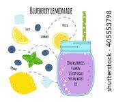 recipe of lemonade with... | Shutterstock .eps vector #405553798