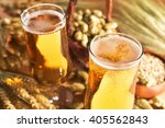 two beer glasses with hops ... | Shutterstock . vector #405562843
