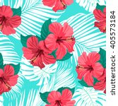 tropical flowers and palm... | Shutterstock .eps vector #405573184