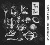 hand drawn tea collection on a... | Shutterstock .eps vector #405591298