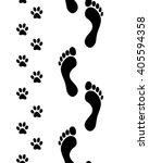 Prints Of Human Feet And Dog...