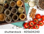 close photo of spices and herbs ...   Shutterstock . vector #405604240