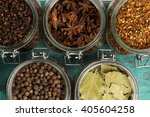 close photo of different spices ...   Shutterstock . vector #405604258