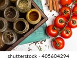 close photo  different spices ...   Shutterstock . vector #405604294