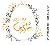 Happy Easter Floral Vector...