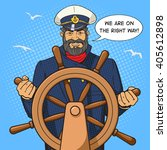 captain character with ship... | Shutterstock .eps vector #405612898