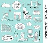 world travel outline clipart | Shutterstock .eps vector #405637579
