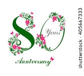 80 years anniversary. happy... | Shutterstock . vector #405667333