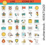 vector e commerce flat line... | Shutterstock .eps vector #405671620