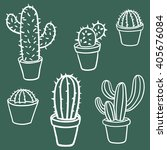 vector collection of cactus.... | Shutterstock .eps vector #405676084