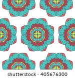 hand drawn mandala seamless... | Shutterstock .eps vector #405676300