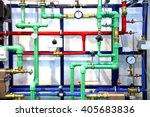 colored pipes and heating... | Shutterstock . vector #405683836