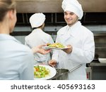 team of chefs and young waiter... | Shutterstock . vector #405693163