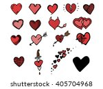 hand drawn isolated hearts set | Shutterstock .eps vector #405704968