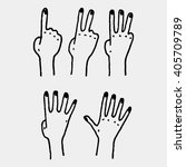 five human counting hands set | Shutterstock .eps vector #405709789