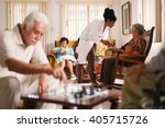 old people in geriatric hospice ... | Shutterstock . vector #405715726