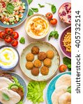 table served with middle... | Shutterstock . vector #405732514