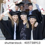 a group of graduates celebrating | Shutterstock . vector #405738913