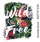 Tropical Exotic Print With...
