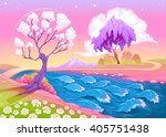 astral landscape with trees and ... | Shutterstock .eps vector #405751438