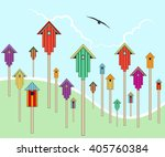 scattered birdhouses on a hill...