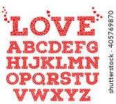 Red Romantic Alphabet With Lov...
