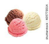 Stock photo scoops of vanilla strawberry and chocolate ice cream on white background 405773014