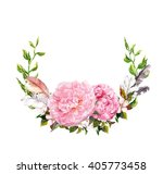 floral wreath with pink peony... | Shutterstock . vector #405773458