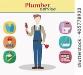 plumber male character standing ... | Shutterstock .eps vector #405778933