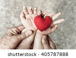 old hand of the elderly and a... | Shutterstock . vector #405787888