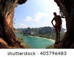 young woman hiker enjoy the... | Shutterstock . vector #405796483