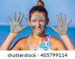 girl at the dead sea  israel. | Shutterstock . vector #405799114